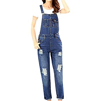 Yayu Women Fashion Denim Trousers Vintage Hole Overalls