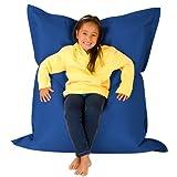 Hi-BagZ® KIDS Bean Bag 4-Way Lounger - GIANT Childrens Bean Bags Outdoor Floor Cushion BLUE - 100% Water Resistant
