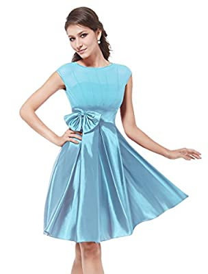 Ever Pretty Bowtie Round Neck Ruffles Satin Women Cocktail Dress 06113