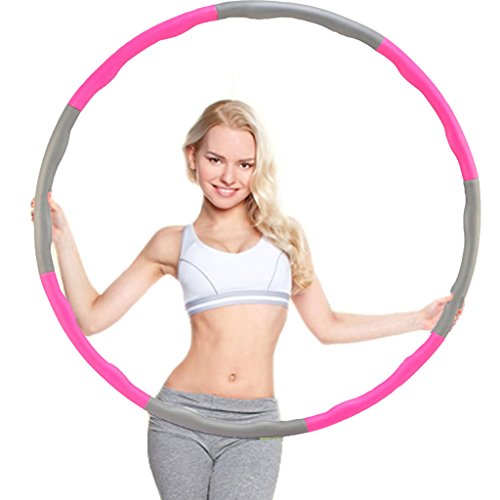 Minch Weighted Hula Hoop, Perfect for Dancing Exercise Hot Fitness Workout and Weight Loss (Rose-Grey)
