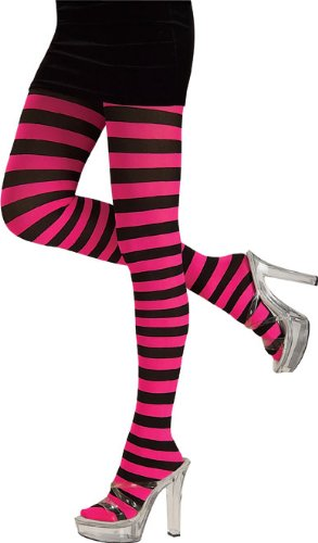 Adult Pink and Black Striped Tights - Adult Std.