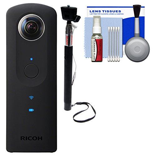Ricoh Theta S 360-Degree Spherical Digital Camera (Black) with Selfie Stick + Kit
