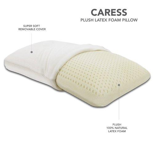 Classic Brands Caress Plush Latex Pillow, 100 Percent Ventilated Latex Foam, Queen Size