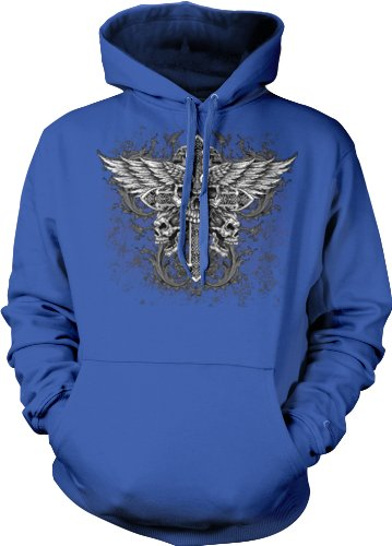 Winged Skull Cross Sweatshirt, Men'S Old School Tattoo Hoodie, Large, Royal Blue
