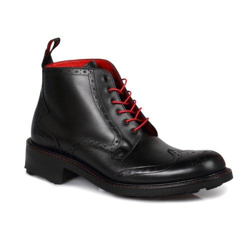 Jeffrey West Hannibal Black Brogue Boots-UK 8