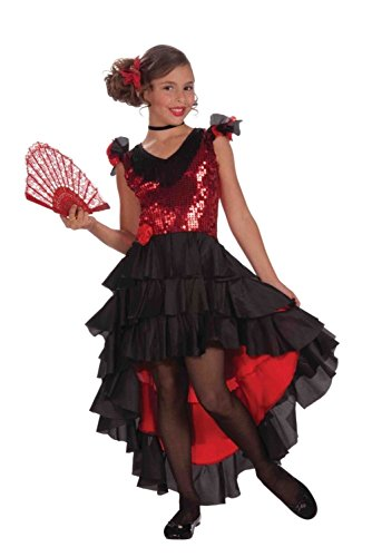 Spanish Dancer Costume Dress Child Girls Senorita Red Black Sequins Medium 8-10 (2)
