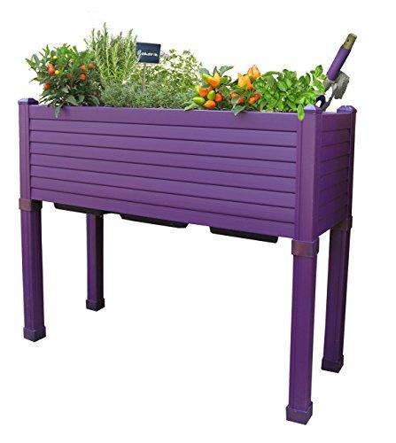 Table potagère GREENLAND spécial balcons 90x32x75 cm. Couleur: aubergine