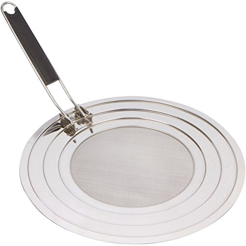 Splatter Screen Guard for Frying Pan and Cooking with Folding Handle, Stainless Steel Grease Shield, Dish Washer Safe (Frying Pan Splatter Screen compare prices)