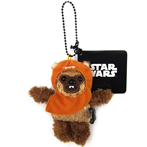 Japan Disney Official Star Wars the Force Awakens - Ewok Wicket Head Mascot Soft Plush Stuffed Toys Cushion Doll Plushie Ball Key Chain Strap Charm String Phone Ring Holder Accessory Takara Tomy Arts