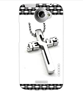 ColourCraft Jesus Cross Design Back Case Cover for HTC ONE X