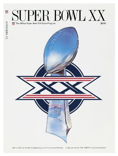 1986 Bears Vs Patriots 36 X 48 Canvas Super Bowl Xx Program