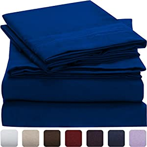 #1 Bed Sheet Set - SALE - HIGHEST QUALITY Brushed Microfiber 1800 Bedding - Wrinkle, Fade, Stain Resistant - Hypoallergenic - LIFETIME MONEY BACK - Mellanni (Queen, Imperial Blue)