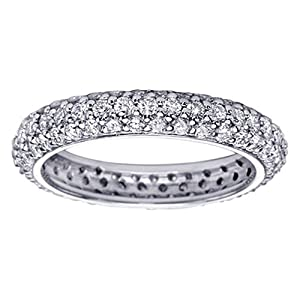 2.20 CT TW All Around Pave Set Diamond Eternity Ring in Platinum - Size 7