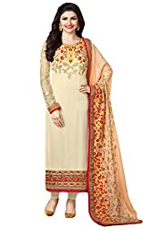 Justkartit Women's Semi-Stitched Off-White Colour Beautiful Embroidered Salwar Suit For Wedding Party & Engagement party / Floral Embroidery Stylish + Sober Latest Indian Dress Material (August 2016 Collection)