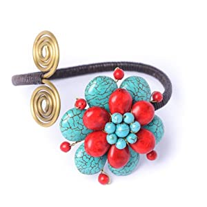 81stgeneration Turquoise red coral brass flower handmade fair trade adjustable bracelet cuff