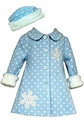 Bonnie Jean Little Girl's Snowflake Fleece Coat with Hat