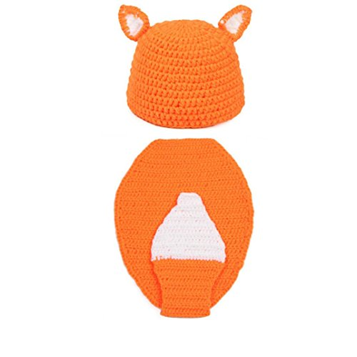 DDLBiz Newborn Baby Large Tail Fox Knit Hat Costume Photography Prop Set