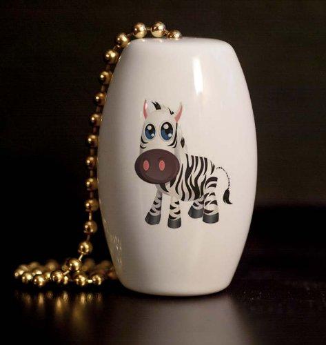 Safari Zebra Peeper Porcelain Fan / Light Pull front-1011366
