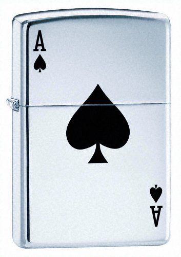 "Zippo, Accendino ""Asso di Picche"", Cromato (High Polished Chrome)"