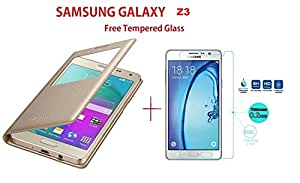 Samsung Z3 Window Flip Cover(GOLD)+FREE Tempered Flexible Curved Glass By Sun Tigers