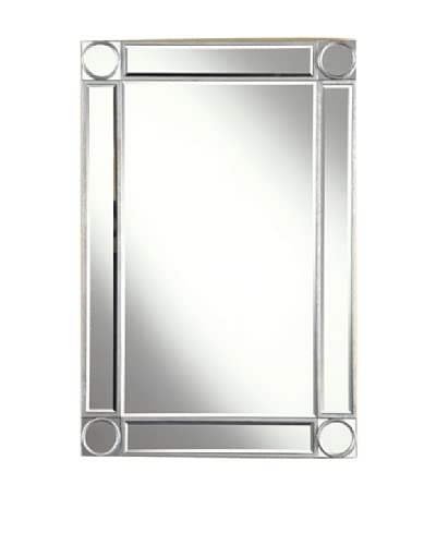 Audrey Mirror Accented Rectangular Mirror, Silver Leaf