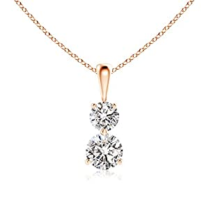 3 Prong-Set Two Stone Diamond Pendant Necklace Necklace in 14K Rose Gold (Color: I-J, Clarity: I1-I2, Weight: 0.5ctwt)