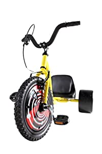 Bike Rassine Hill Kicker Junior Street Trike (16-Inch), Yellow, 44x27x32-Inch