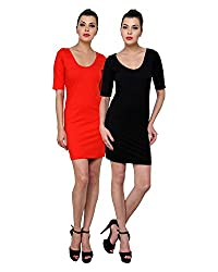 Finesse Women's Bodycon Dress Combo (Black/ Red, Large)