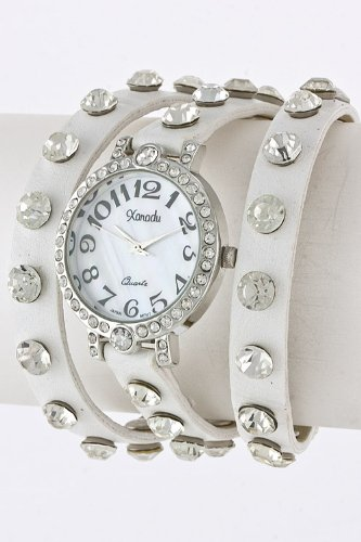 Contempo Couture Crystal Studded Wrap Watch (White)