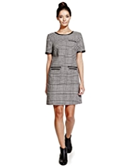 Limited Edition Checked Shift Dress with Wool