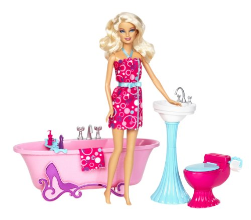 Barbie Glam Bathroom Furniture and Doll Set - 1
