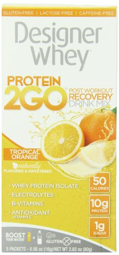 Designer Whey  Protein 2Go Drink Mix, Tropical Orange, 0.56 Ounce (5-Packets)