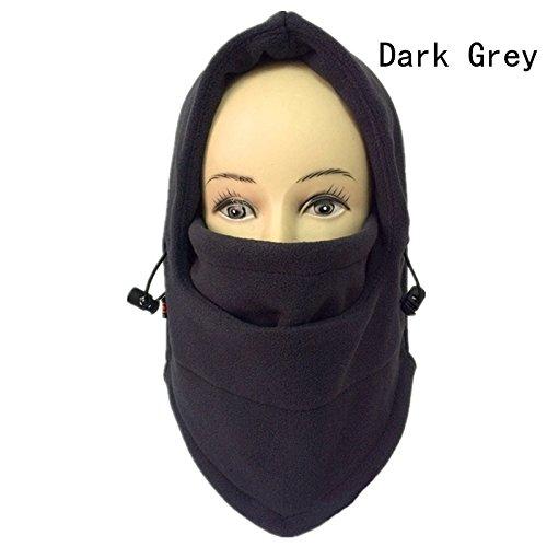 Fugou® Outdoor Unisex Breathable Thermal Fleece Face Mask Hood Winter Versatile Neck Warmer Windproof Balaclava Hat (Dark Grigio)