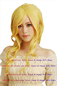 NEW fashion HOT sexy Long Yellow Blonde Curly Anime cosplay wigs party Masquerade girls 70CM