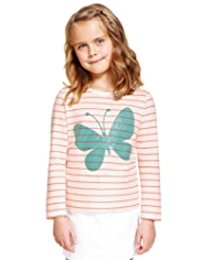 Pure Cotton Striped & Butterfly Print T-Shirt