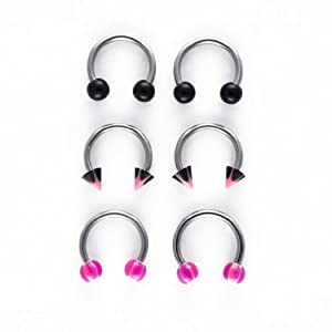 8 Pk-18G Surgical Steel Horseshoes: Pink/Black Designs-4 Balls-2 Cones-2 Retainers-Hinged Gift Box