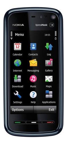 Nokia 5800 XpressMusic Unlocked Cell Phone with International 3G, 3.2 MP Camera, GPS, Wi-Fi, MicroSD Slot--International Version with No Warranty (Blue on Black)