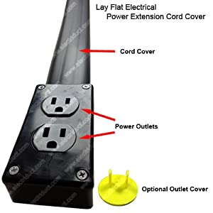 flat electrical power extension cord cover length 10ft color black under carpet. Black Bedroom Furniture Sets. Home Design Ideas