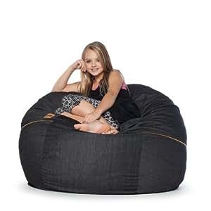 Amazon Com Jaxx 4 Ft Bean Bag Chair Black Denim Kitchen