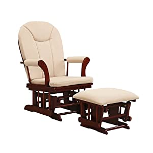 Kendall Sleigh Style Glider Rocker and Ottoman Value Set- Cherry Finish with Beige Micro Fiber