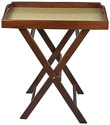An Dcor Wooden Serving Tray With Stand - ( L x B x H- 45 x 60 x 70 Cm, Cream & Dark Walnut )