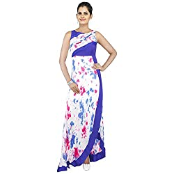 Madhus world Woman Blue Abastract Printed Gown _GN00018C