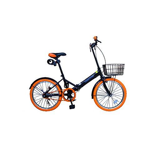 20インチ 折りたたみ自転車 カラータイヤ【カラー:オレンジ】 カゴ付き 20インチ [TH20-KR] 便利なカゴ付き 簡単折り畳み