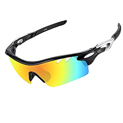 Ewin E01 Polarized Sports Sunglasses with 3 Interchangeable Lenses for Men Women Golf Baseball Volleyball Fishing Cycling Driving Running Glasses