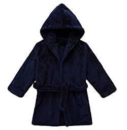 Yanzi6 Unisex-baby Winter Soft Soft Coral Fleece Flush Hooded Bath Robe (24-36 Months, Deep-Blue)