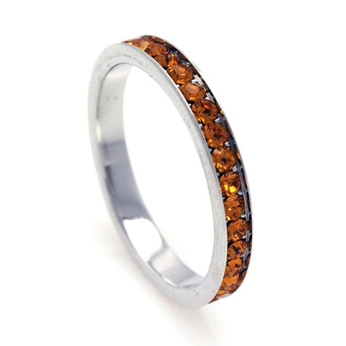 2.5mm Sterling Silver Channel Set Cubic Zirconia November Birthstone Citrine Simulant Eternity Ring Band (Sizes 3 to 9) - Size 4