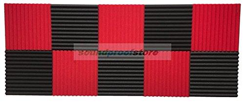 1-x-12-x-12-acoustic-studio-soundproofing-foam-wedge-tiles-10-pkfire-retardant-red-gray