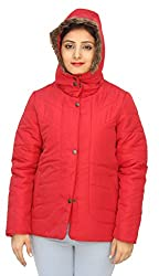 Romano Classy Red Hooded Warm Winter Jacket for Women