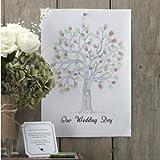 Wedding Tree für die Fingerabdrücke Ihrer Hochzeitsgäste - inklusive Stempelfarben in grün & braun - originelle Erinnerung an Ihre Hochzeit & witziges Hochzeitsgeschenk - super Alternative zu einem Gästebuch