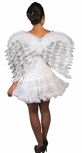 Glitter White Feather Angel Wings